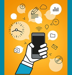 Communicating via modern smartphone simple line vector