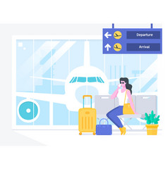 airport passenger terminal and waiting vector image