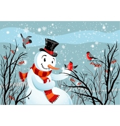 Birds bullfinch and snowman vector image
