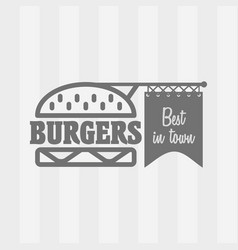 Burger logo design concept in linear style vector