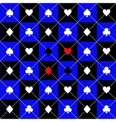 Card suits blue black chess board diamond vector
