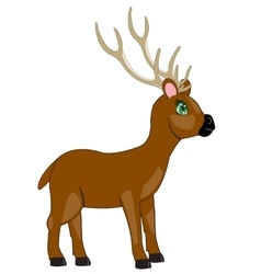 Cartoon of the deer with horn vector image vector image