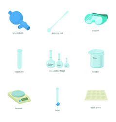 Chemical experiment icons set cartoon style vector