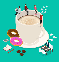 coffee break concept 3d isometric view vector image vector image