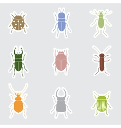 Color bugs and beetles stickers eps10 vector