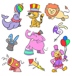 Colorful element circus of doodle style vector