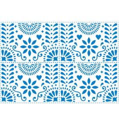 Folk art seamless pattern mexican blue vector