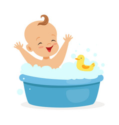 Happy baby taking a bath playing with foam bubbles vector