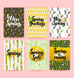 Hello spring trendy brochures vector