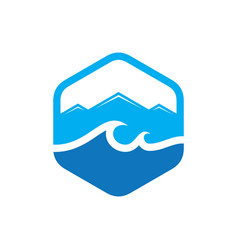 hexagon wave mountain logo vector image vector image