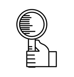 Holding search loupe find outline vector