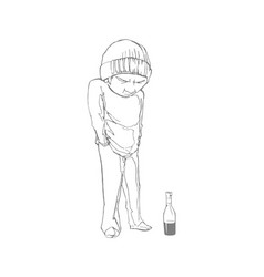 Homeless boy with a bottle vector