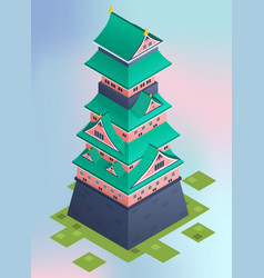 isometric traditional japanese castle vector image