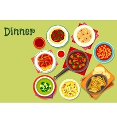 Lunch dishes icon with fruit dessert vector