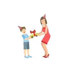 Mother and child celebrating birthday together vector