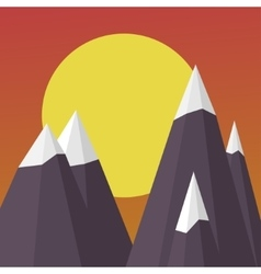 Mountains on the Sun background sunset landscape vector image vector image