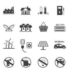 Renewable energy and ecology icon set vector