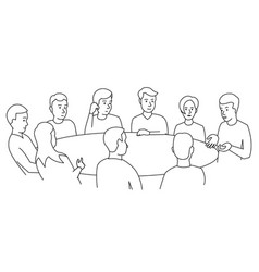 round table talks team business people meeting vector image vector image