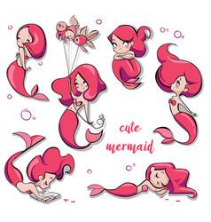 Set of cute cartoon mermaids vector