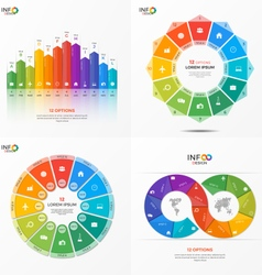 set of infographic templates with 12 options vector image