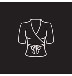 Short female bathrobe sketch icon vector image
