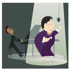 Singer woman and a pianist in the concert vector
