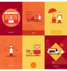 Street food mini poster set vector image vector image