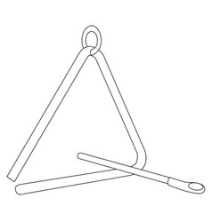 triangle instrument outline vector image vector image