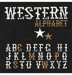 Western alphabet On the blackboard background vector image