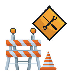 white background with barricade and traffic signal vector image