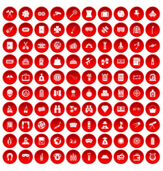 100 adult games icons set red vector
