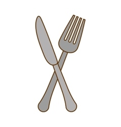 silver knife and fork icon design vector image