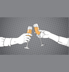 Sketched couple hands clinking glass of champagne vector