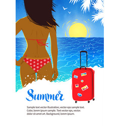 Summer design with young woman near sea surf vector