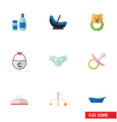 Flat icon child set of cream with lotion pinafore vector