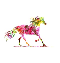 Horse sketch with floral ornament for your design vector image