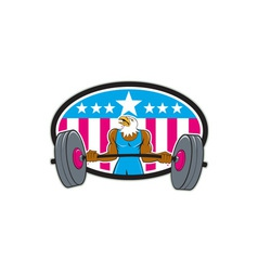 Bald eagle weightlifter barbell usa flag oval vector