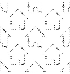 House dashed contour pattern vector