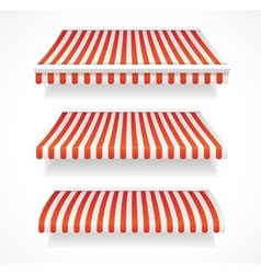 Colorful awnings for shop set red vector
