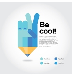 Pencil with cool gesture symbolizing ideas with vector