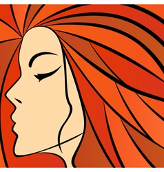 Abstract women with fiery hair vector