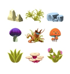Cartoon mushrooms stones and bushes set vector