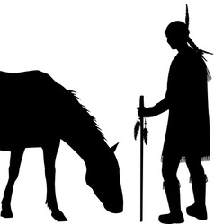 American indian silhouette with horse vector