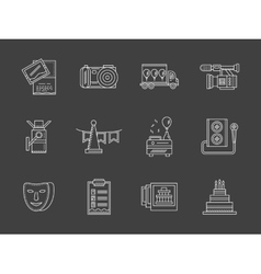 Party agency white line icons vector