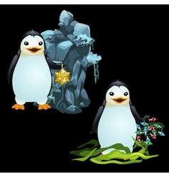 Two fun penguins with christmas ball and garland vector