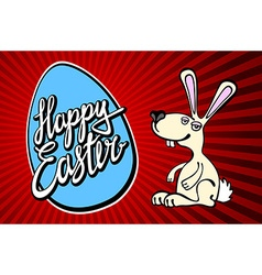 Happy easter greeting card hand drawn lettering vector