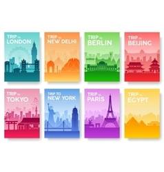 Travel of the world brochure with typography set vector