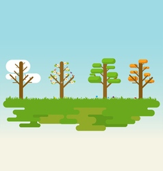 Flat four season tree vector