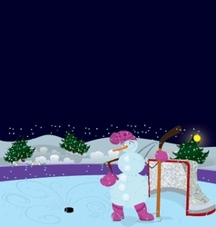 Snowman is playing ice hockey banner vector