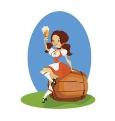 Beer girl in dirndl on keg with pretzel pinup vector